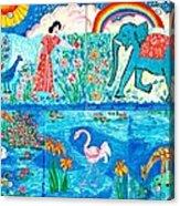 Woman And Blue Elephant Beside The Lake Acrylic Print