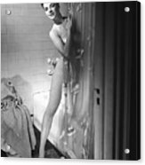 Woman Behind Shower Curtain Acrylic Print