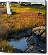 Woman By Boat On Grassy Shore Acrylic Print