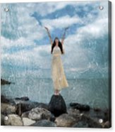 Woman By The Sea With Arms Reaching Up In Praise Acrylic Print