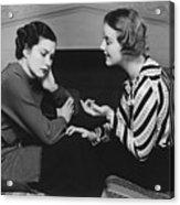 Woman Consoling Friend At Fireplace, (b&w) Acrylic Print