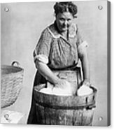 Woman Doing Laundry In Wooden Tub Acrylic Print