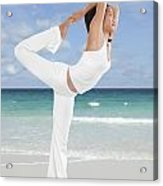 Woman Doing Yoga On The Beach Acrylic Print