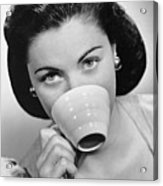 Woman Drinking From Cup Acrylic Print by George Marks