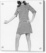 Woman Gesturing In Studio, (b&w) Acrylic Print by George Marks