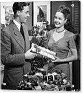 Woman Giving Gift To Man, (b&w) Acrylic Print