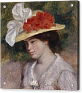 Woman In A Flowered Hat Acrylic Print