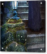 Woman In Dark Gown On Old Staircase Acrylic Print