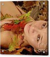 Woman In Fallen Leaves Acrylic Print
