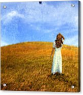 Woman In Field Looking Up At An Airplane Acrylic Print