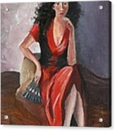 Woman In Red - Inspired By Pino Acrylic Print by Kostas Koutsoukanidis