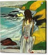 Woman In Sheer Dress By Sea 3d Acrylic Print