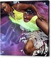 Woman In Swimsuit Lying In Water Acrylic Print