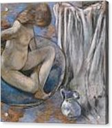 Woman In The Tub Acrylic Print by Edgar Degas