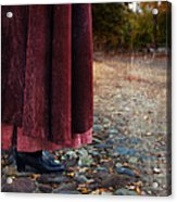 Woman In Vintage Clothing On Cobbled Street Acrylic Print
