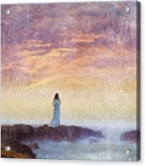 Woman In Vintage Dress At The Rocky Shore At Dawn Acrylic Print