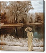 Woman In Vintage Dress With Parason By Lake Acrylic Print