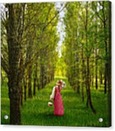 Woman In Vintage Pink Dress Walking Through Woods Acrylic Print