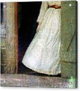 Woman In Vintage Victorian Era Dress In Doorway Acrylic Print