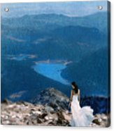 Woman In White Gown On Mountain Top Acrylic Print