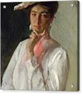 Woman In White Acrylic Print by William Merritt Chase
