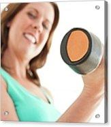 Woman Lifting Weights Acrylic Print by Ian Hooton