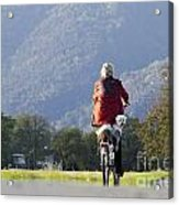 Woman On A Bicycle With Her Dog Acrylic Print