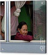 Woman On Bus Laos Acrylic Print