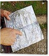 Woman On Country Road Pointing Map Acrylic Print