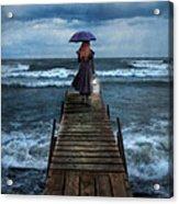 Woman On Dock In Storm Acrylic Print