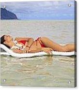Woman On Raft Acrylic Print