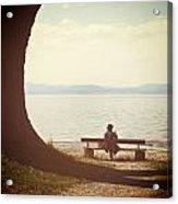 Woman On The Shore Of A Lake Acrylic Print