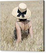 Woman On The Wheat Field Acrylic Print