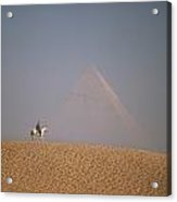 Woman Riding Horse With Great Pyramid Acrylic Print