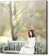 Woman Sitting On Park Bench Acrylic Print by Stephanie Frey