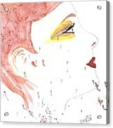 Woman Smile Watercolor Painting Acrylic Print