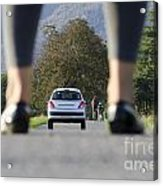 Woman Standing On A Road Acrylic Print