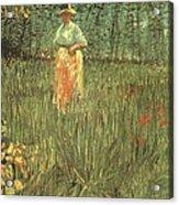 Woman Walking In A Garden Acrylic Print