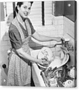 Woman Washing Dishes In Kitchen Sink, (b&w), Elevated View Acrylic Print by George Marks