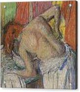 Woman Washing Her Back Acrylic Print by Edgar Degas