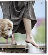 Woman With A Skirt And A Dog Acrylic Print
