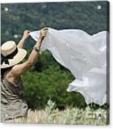 Woman With A White Sheet Acrylic Print