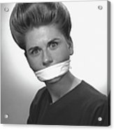 Woman With Covered Mouth In Studio, (b&w), Portrait Acrylic Print by George Marks