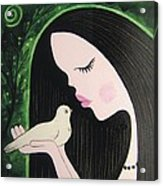 Woman With Dove Acrylic Print