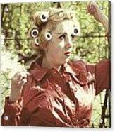 Woman With Rain Coat And Curlers Acrylic Print by Joana Kruse
