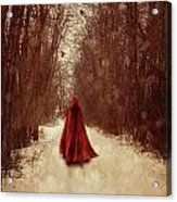 Woman With Red Cape Walking In Woods Acrylic Print