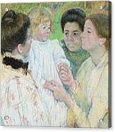 Women Admiring A Child Acrylic Print by Mary Stevenson Cassatt
