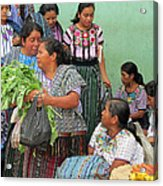 Women At The Chichicastenango Market Acrylic Print