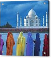 Women In Colorful Saris In Front Of The Acrylic Print