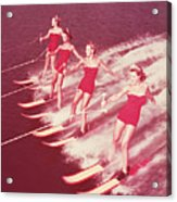 Women Water Skiing Parallel, 1950s Acrylic Print by Archive Holdings Inc.